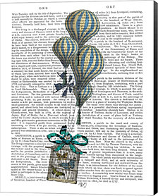Balloon and Bird Cage 2 by Fab Funky Canvas Art