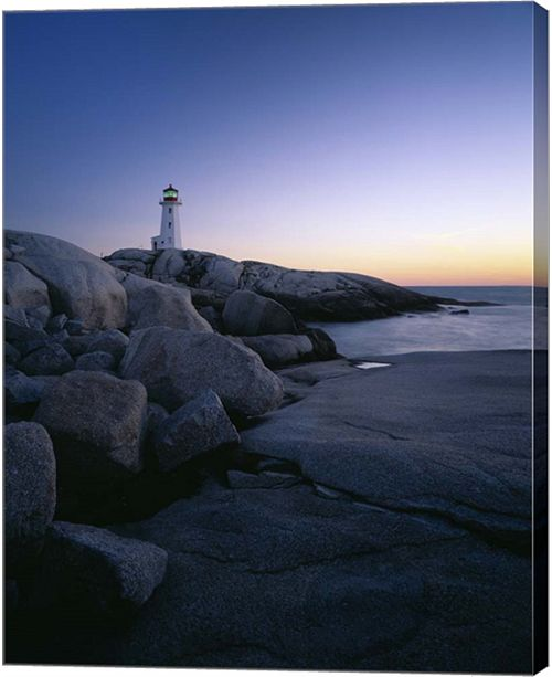 Metaverse Peggys Cove Lighthouse At Night, Nova Scotia, Canada By Panoramic Images Canvas Art