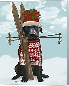 Black Labrador, Skiing By Fab Funky Canvas Art