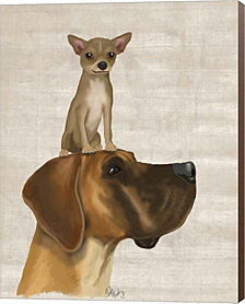 Great Dane And Chihuahua By Fab Funky Canvas Art