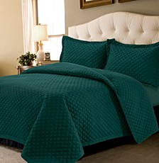 Brisbane Microfiber Solid Oversized Twin Quilt Set