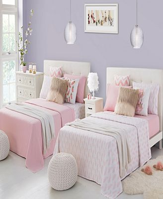 Rampage Mix Match Solid and Print Double Twin Sheet Sets