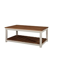 "Savannah 45"" W Coffee Table, Ivory with Natural Wood Top"