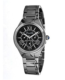 Bertha Quartz Rachel Collection Silver And Black Stainless Steel Watch 40Mm