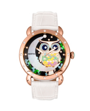 Bertha Quartz Ashley Collection Rose Gold And White Leather Watch 38Mm