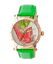 Quartz Isabella Collection Rose Gold And Green Leather Watch 38Mm