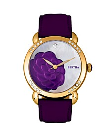Quartz Daphne Collection Gold And Purple Leather Watch 38Mm