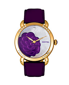 Bertha Quartz Daphne Collection Gold And Purple Leather Watch 38Mm