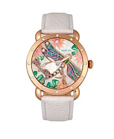 Bertha Quartz Jennifer Collection Rose Gold And White Leather Watch 38Mm