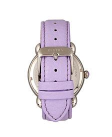 Bertha Quartz Estella Collection Silver And Lavender Leather Watch 38Mm