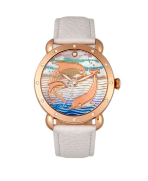 Quartz Estella Collection Rose Gold And White Leather Watch 38Mm