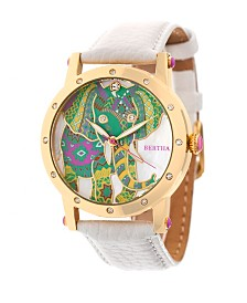 Bertha Quartz Betsy Collection Gold And White Leather Watch 38Mm