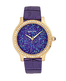 Bertha Quartz Cora Collection Purple Leather Watch 40Mm