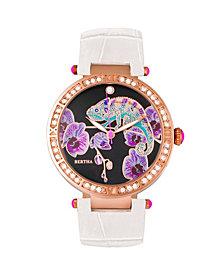 Bertha Quartz Camilla Collection White Leather Watch 38Mm