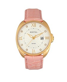 Bertha Quartz Amelia Collection Light Pink Leather Watch 38Mm