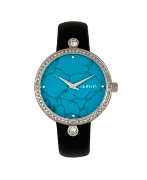 Quartz Frances Collection Silver And Cerulean Leather Watch 37Mm