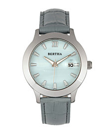 Bertha Quartz Eden Collection Grey And Silver Leather Watch 38Mm