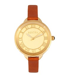Bertha Quartz Madison Collection Camel And Gold Leather Watch 36Mm