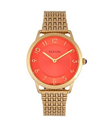Bertha Quartz Abby Collection Gold And Red Stainless Steel Watch 33Mm
