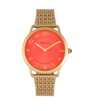 Quartz Abby Collection Gold And Red Stainless Steel Watch 33Mm