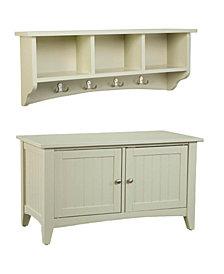 Shaker Cottage Storage Coat Hook with Cabinet Bench Set