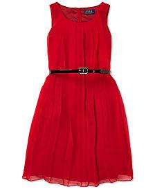 Polo Ralph Lauren Big Girls Pleated Chiffon Dress