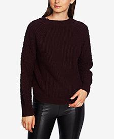 1.STATE Cotton Crewneck Textured-Sleeve Sweater