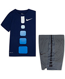Nike Toddler Boys Gradient Elite T-Shirt & Elite Stripe Shorts