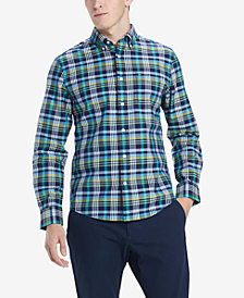 Tommy Hilfiger Men's Finch Custom-Fit Stretch Plaid Twill Shirt