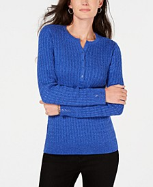 Petite Cotton Cable-Knit Henley Sweater, Created for Macy's