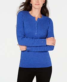 Karen Scott Petite Cotton Cable-Knit Henley Sweater, Created for Macy's