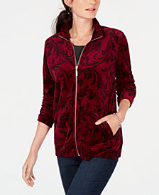 Karen Scott Scroll-Print Velour Jacket, Created for Macy's