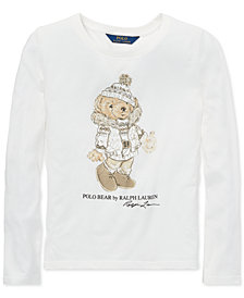 Polo Ralph Lauren Big Girls Holiday Bear Long-Sleeve Cotton T-Shirt