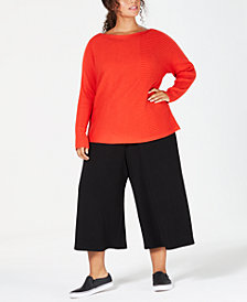 Eileen Fisher Plus Size Cotton Boat-Neck Sweater