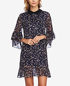 CeCe Ruffled Metallic Floral Print Dress