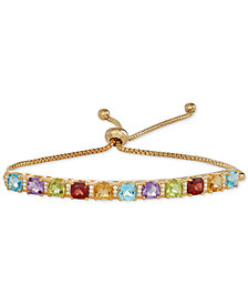 Multi-Gemstone (1-1/3 ct. t.w.) & Diamond (1/10 ct. t.w.) Bolo Bracelet in 14k Gold