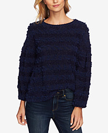 CeCe Striped Bouclé-Knit Sweater