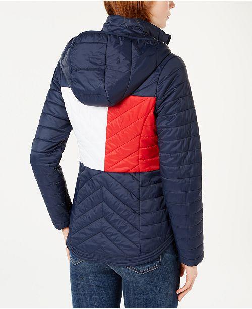 Julkaisupäivä Kivat kengät paras asenne Flag Hooded Puffer Jacket