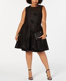 Love Squared Trendy Plus Size Flocked-Velvet Fit & Flare Dress