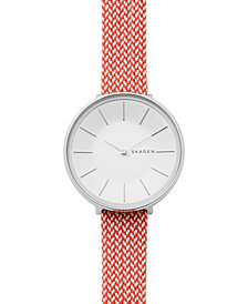 Skagen Women's Karolina Red Recycled Woven Strap Watch 38mm