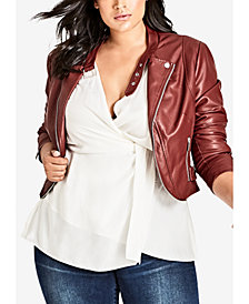 City Chic Trendy Plus Size Cropped Faux-Leather Moto Jacket