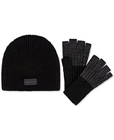 Calvin Klein Men's Hat & Fingerless Gloves Set, Created for Macy's