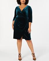 Betsey Johnson Trendy Plus Size Velvet Wrap Dress 7aec9c99e