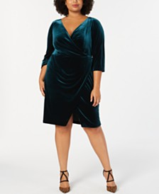 c1ba20b8a94f3 Betsey Johnson Trendy Plus Size Velvet Wrap Dress