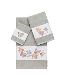 Caroline 3-Pc. Embroidered Turkish Cotton Towel Set
