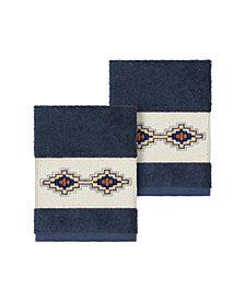 Linum Home Gianna 2-Pc. Embroidered Turkish Cotton Washcloth Set