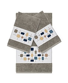 Khloe 3-Pc. Embroidered Turkish Cotton Bath and Hand Towel Set