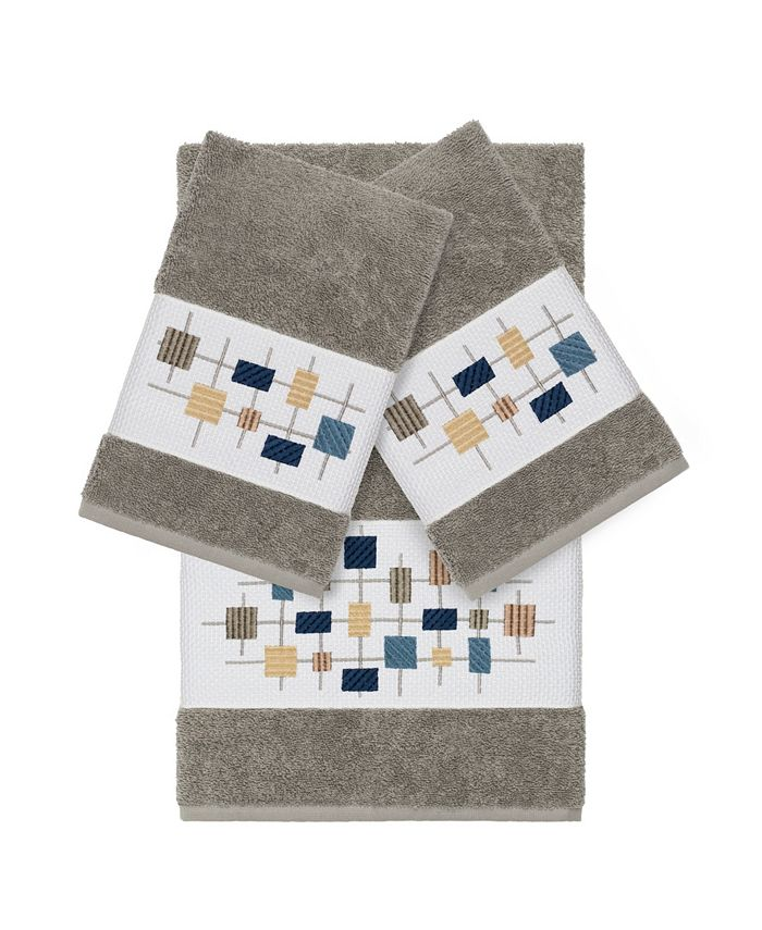 Linum Home - Khloe 3-Pc. Embroidered Turkish Cotton Bath and Hand Towel Set