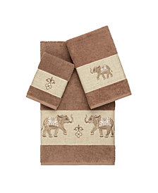 Linum Home Quinn 3-Pc. Embroidered Turkish Cotton Towel Set