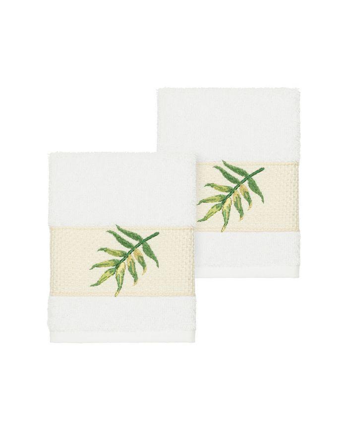 Linum Home - Zoe 2-Pc. Embroidered Turkish Cotton Washcloth Set
